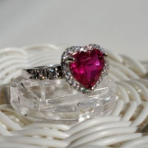 Jewelry - Sterling silver Heart Halo Ring NIB